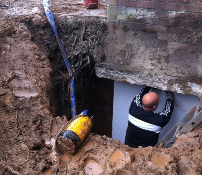 Staet Of Cellar Construction In Caldy Wirral By Bromilow